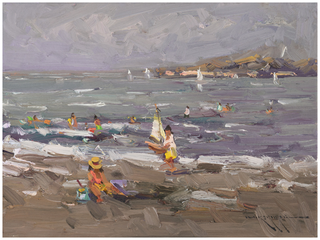 Girl with Sailboats at the Beach